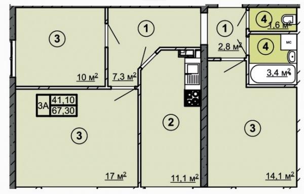 Планировки трехкомнатных квартир 67.3 м^2